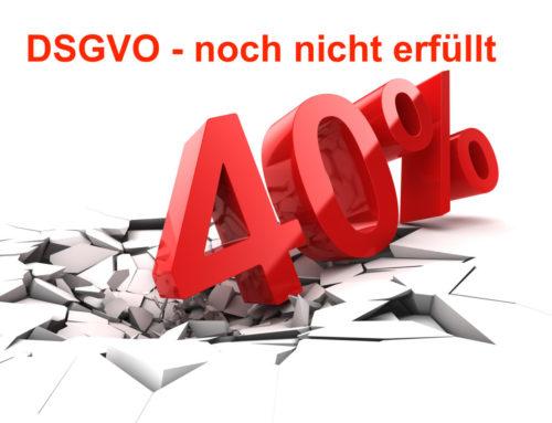 DSGVO für Unternehmen. Immer noch 40 Prozent Nicht DSGVO-Konform