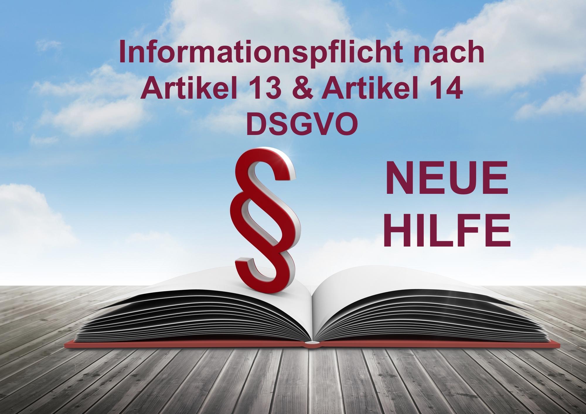 Informationspflicht Artikel 13 und 14 DSGVO
