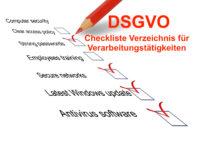 DSGVO Verzeichnis für Verarbeitungstätigkeiten Checkliste